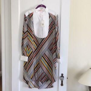 NWT Tory Burch webbing stripe tunic dress sz12